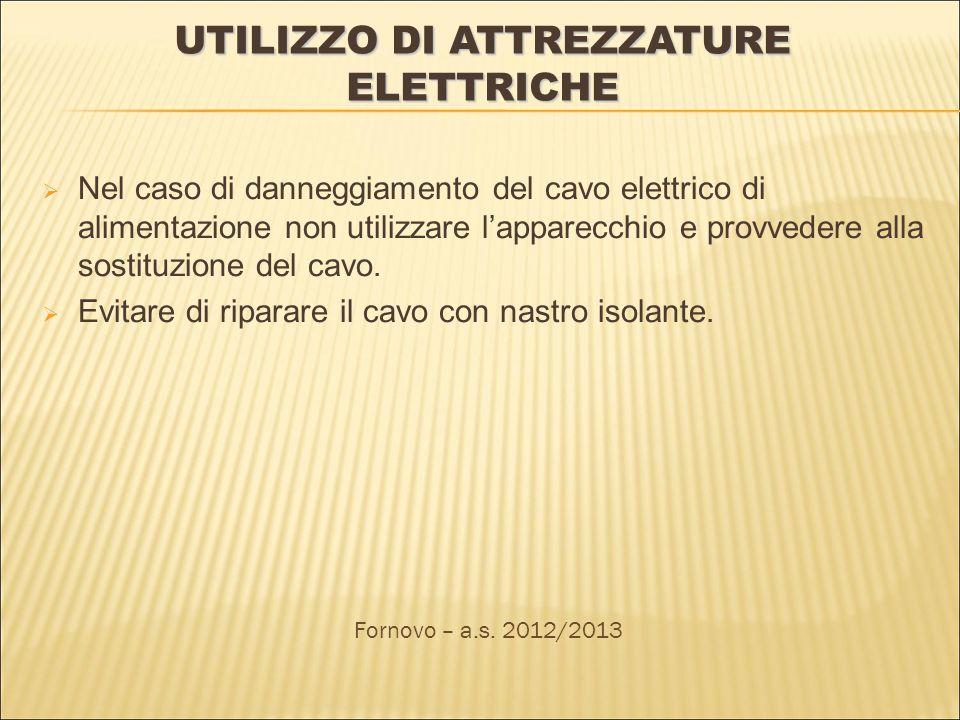 UTILIZZO DI ATTREZZATURE ELETTRICHE Nel caso di danneggiamento del cavo elettrico di alimentazione non utilizzare lapparecchio e provvedere alla sostituzione del cavo.