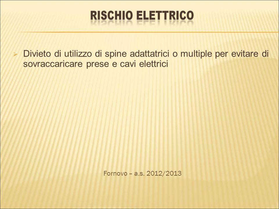 Divieto di utilizzo di spine adattatrici o multiple per evitare di sovraccaricare prese e cavi elettrici Fornovo – a.s. 2012/2013