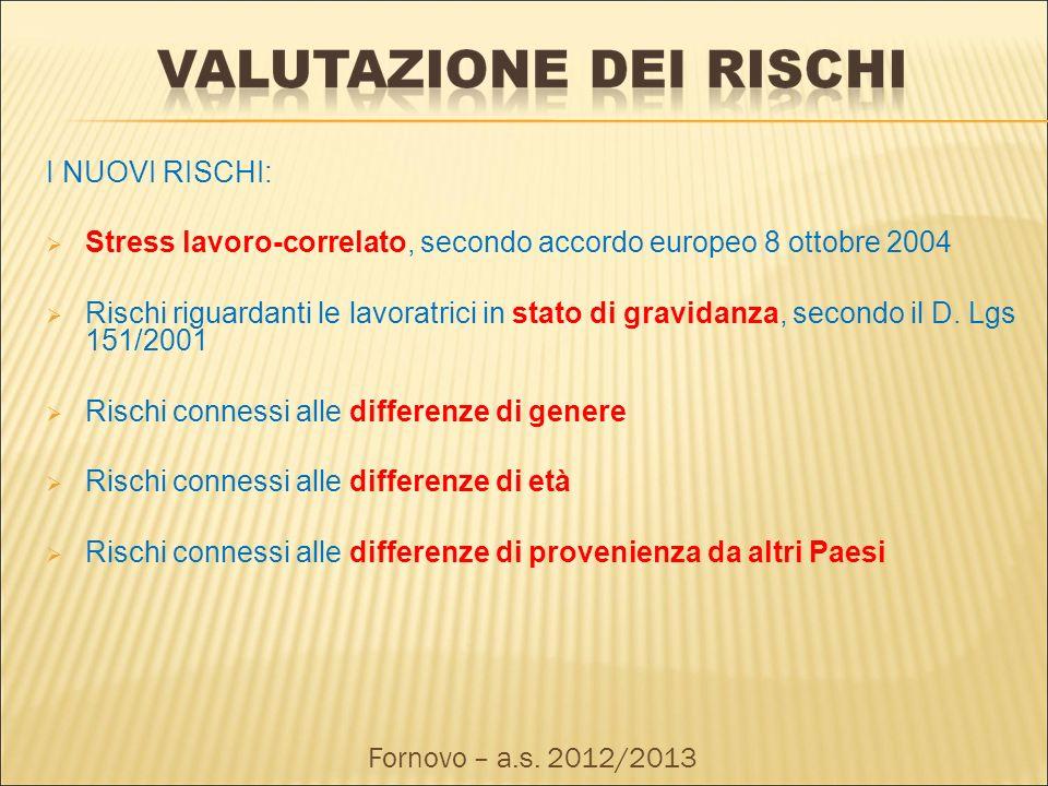 I NUOVI RISCHI: Stress lavoro-correlato, secondo accordo europeo 8 ottobre 2004 Rischi riguardanti le lavoratrici in stato di gravidanza, secondo il D
