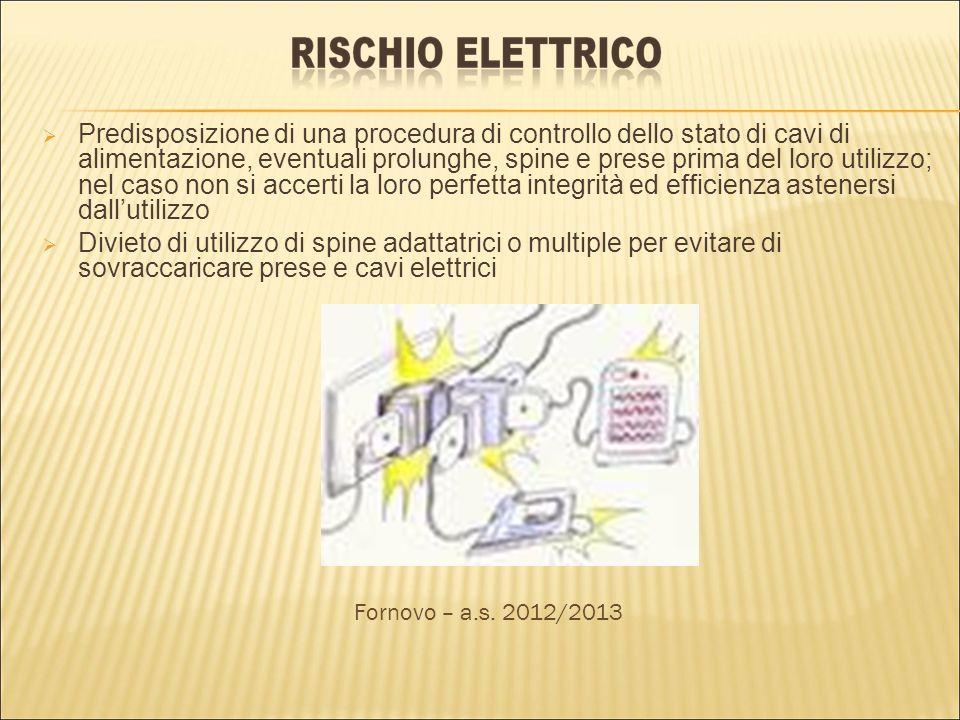 Predisposizione di una procedura di controllo dello stato di cavi di alimentazione, eventuali prolunghe, spine e prese prima del loro utilizzo; nel ca