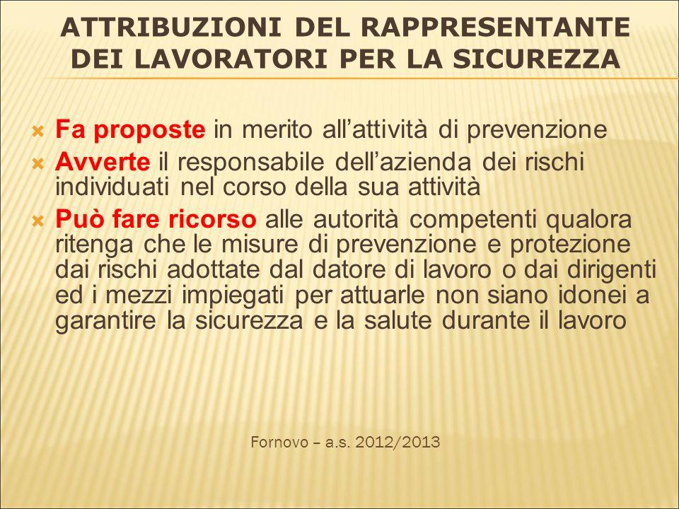 ATTRIBUZIONI DEL RAPPRESENTANTE DEI LAVORATORI PER LA SICUREZZA Fa proposte in merito allattività di prevenzione Avverte il responsabile dellazienda d