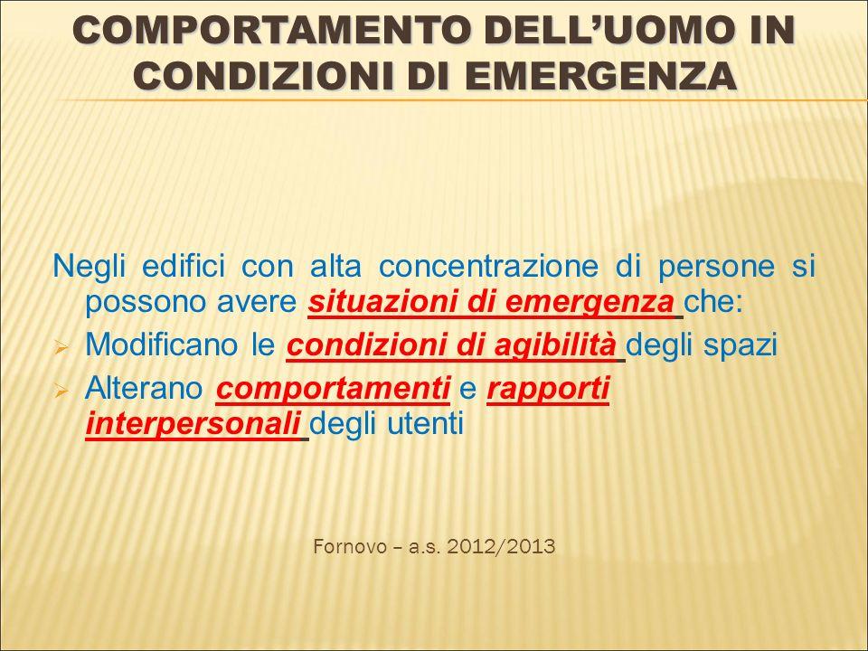 COMPORTAMENTO DELLUOMO IN CONDIZIONI DI EMERGENZA Negli edifici con alta concentrazione di persone si possono avere situazioni di emergenza che: Modif