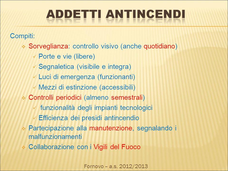 Compiti: Sorveglianza: controllo visivo (anche quotidiano) Porte e vie (libere) Segnaletica (visibile e integra) Luci di emergenza (funzionanti) Mezzi