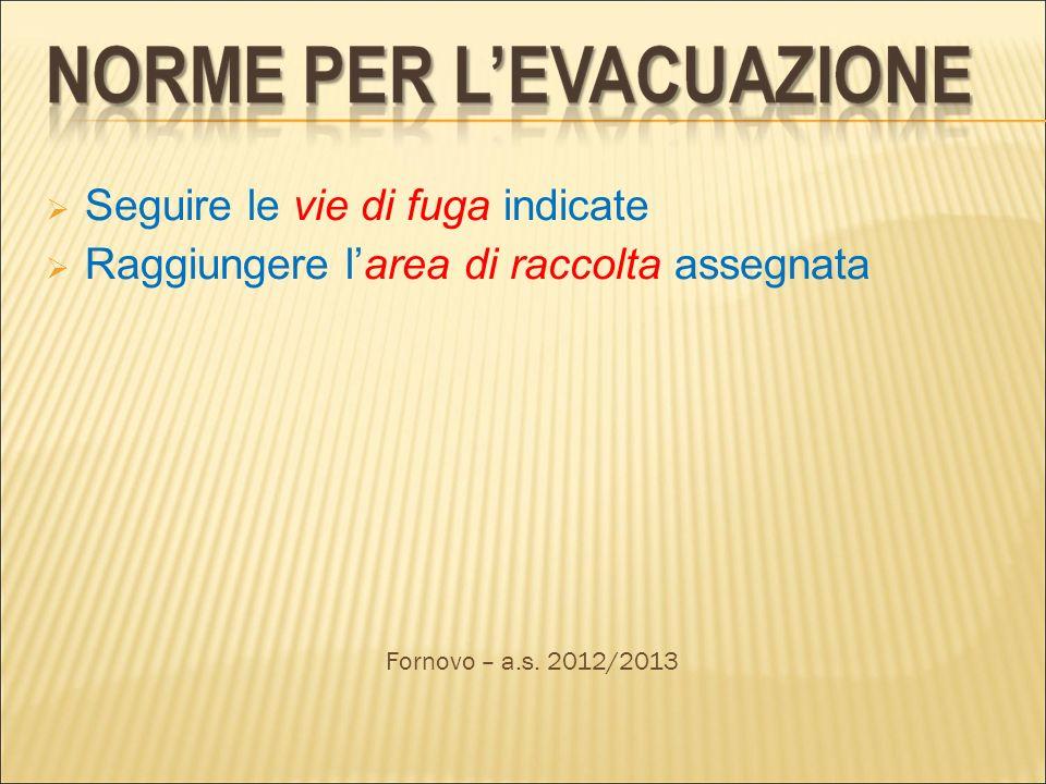 Seguire le vie di fuga indicate Raggiungere larea di raccolta assegnata Fornovo – a.s. 2012/2013