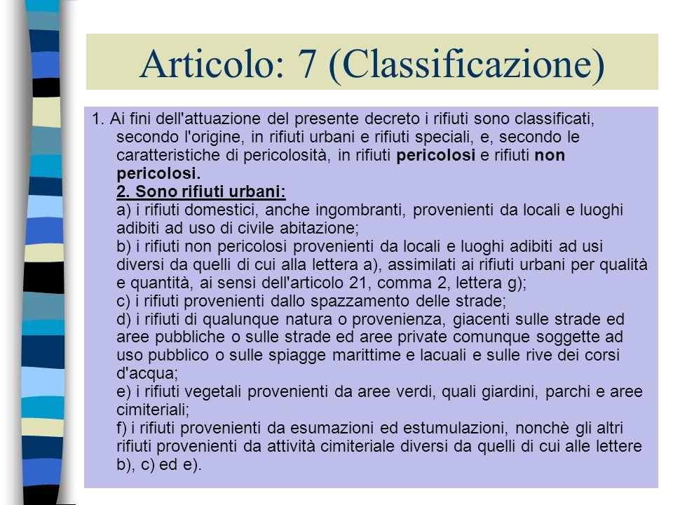 7 Articolo: 7 (Classificazione) 1. Ai fini dell'attuazione del presente decreto i rifiuti sono classificati, secondo l'origine, in rifiuti urbani e ri