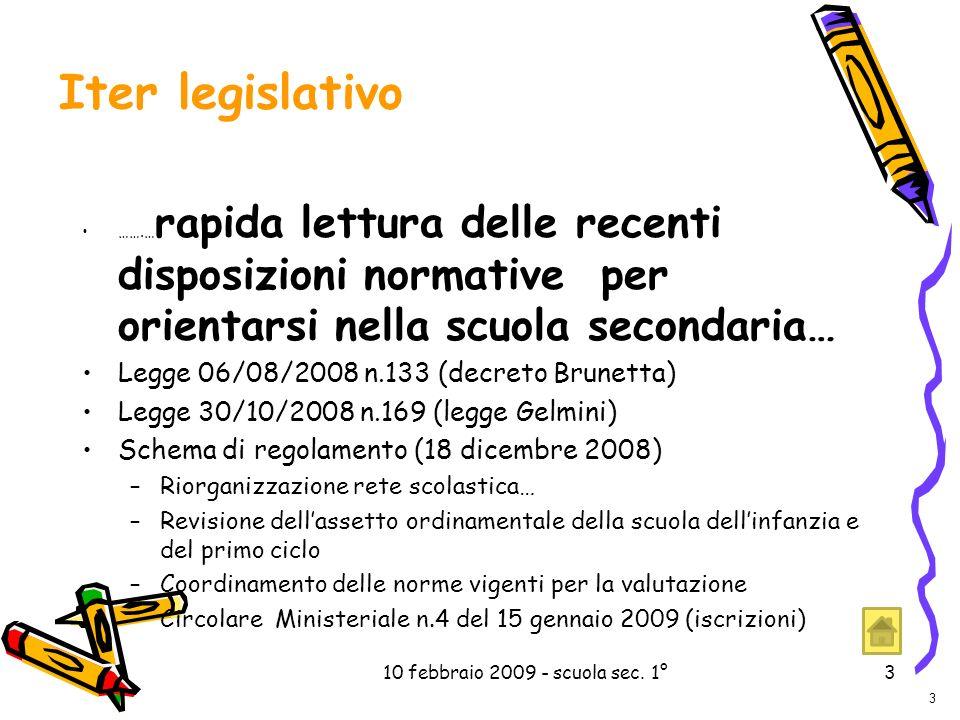 10 febbraio 2009 - scuola sec. 1°3 3 …….… rapida lettura delle recenti disposizioni normative per orientarsi nella scuola secondaria… Legge 06/08/2008
