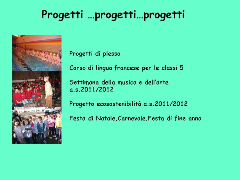 Progetti …progetti…progetti Progetti di plesso Corso di lingua francese per le classi 5 Settimana della musica e dellarte a.s.2011/2012 Progetto ecoso