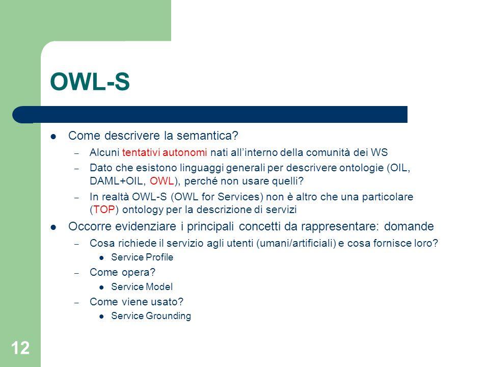 12 OWL-S Come descrivere la semantica? – Alcuni tentativi autonomi nati allinterno della comunità dei WS – Dato che esistono linguaggi generali per de