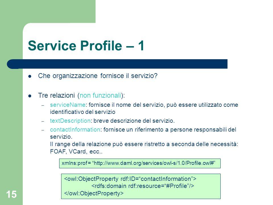 15 Service Profile – 1 Che organizzazione fornisce il servizio? Tre relazioni (non funzionali): – serviceName: fornisce il nome del servizio, può esse