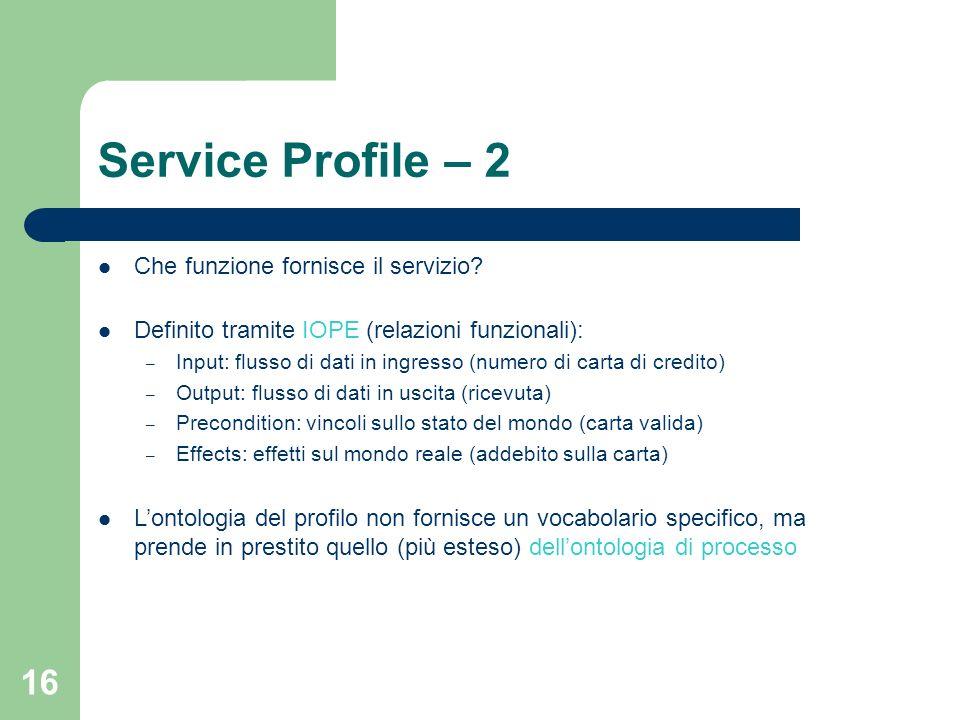 16 Service Profile – 2 Che funzione fornisce il servizio? Definito tramite IOPE (relazioni funzionali): – Input: flusso di dati in ingresso (numero di