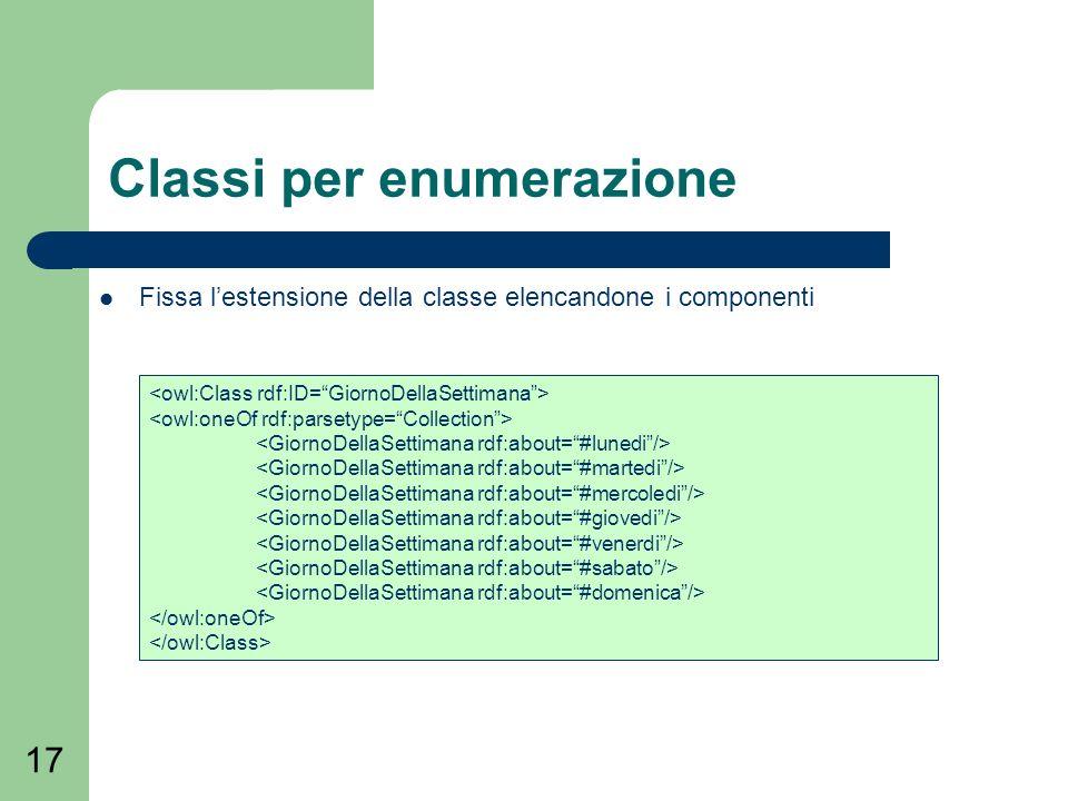 17 Classi per enumerazione Fissa lestensione della classe elencandone i componenti