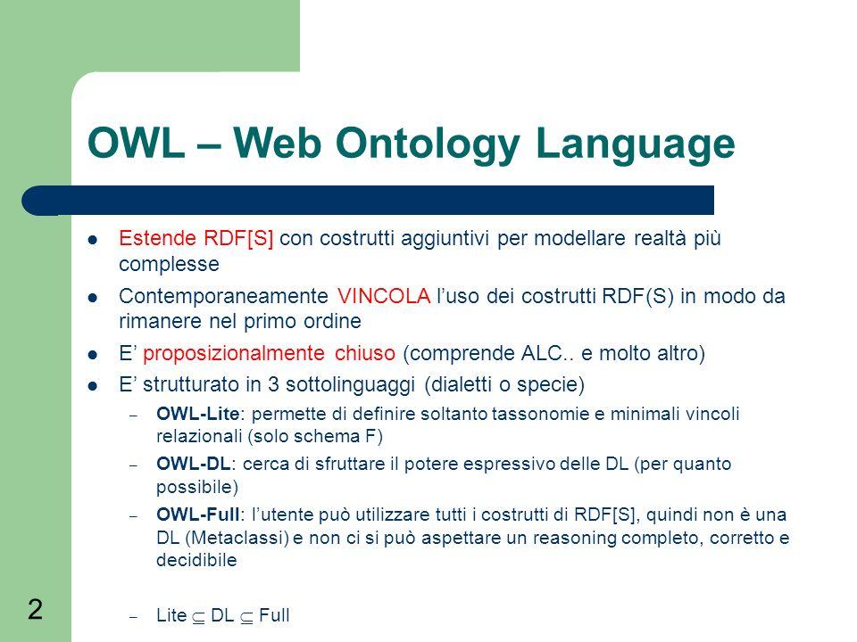 2 OWL – Web Ontology Language Estende RDF[S] con costrutti aggiuntivi per modellare realtà più complesse Contemporaneamente VINCOLA luso dei costrutti RDF(S) in modo da rimanere nel primo ordine E proposizionalmente chiuso (comprende ALC..