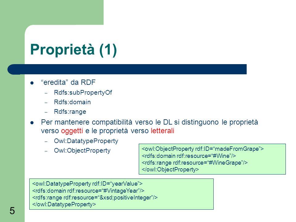 5 Proprietà (1) eredita da RDF – Rdfs:subPropertyOf – Rdfs:domain – Rdfs:range Per mantenere compatibilità verso le DL si distinguono le proprietà verso oggetti e le proprietà verso letterali – Owl:DatatypeProperty – Owl:ObjectProperty