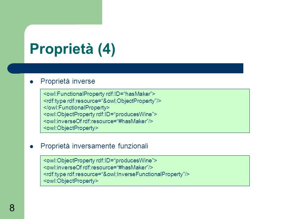 8 Proprietà (4) Proprietà inverse Proprietà inversamente funzionali