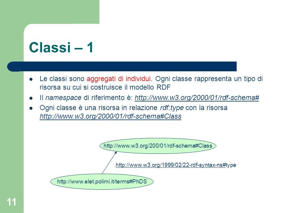11 Classi – 1 Le classi sono aggregati di individui. Ogni classe rappresenta un tipo di risorsa su cui si costruisce il modello RDF Il namespace di ri