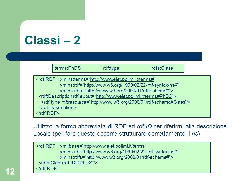 12 Classi – 2 <rdf:RDFxmlns:terms=http://www.elet.polimi.it/terms#http://www.elet.polimi.it/terms# xmlns:rdf=http://www.w3.org/1999/02/22-rdf-syntax-n