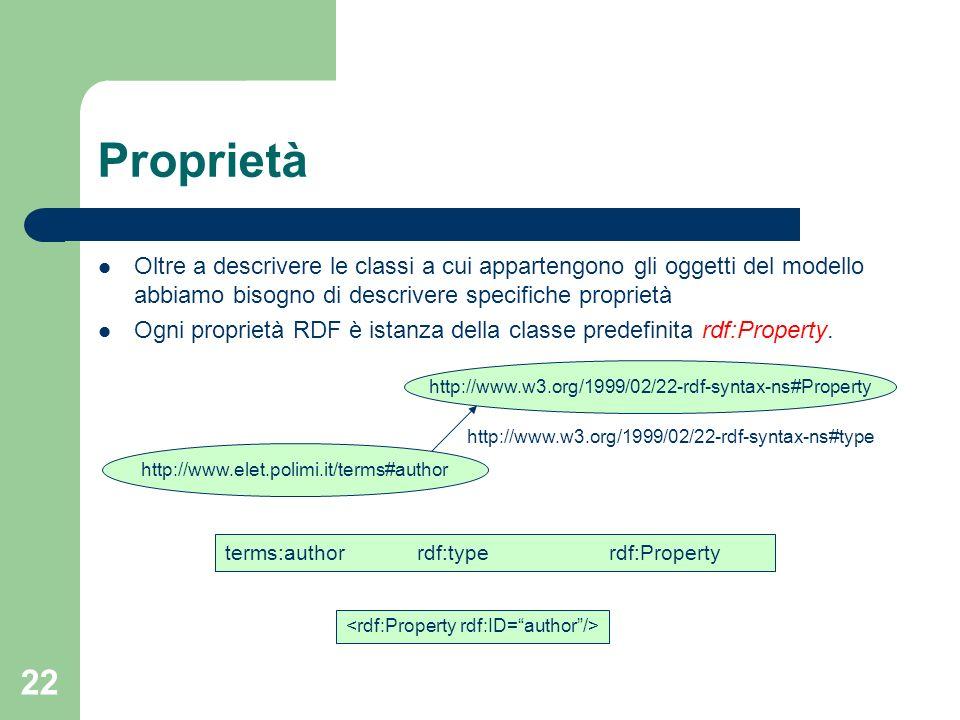22 Proprietà Oltre a descrivere le classi a cui appartengono gli oggetti del modello abbiamo bisogno di descrivere specifiche proprietà Ogni proprietà