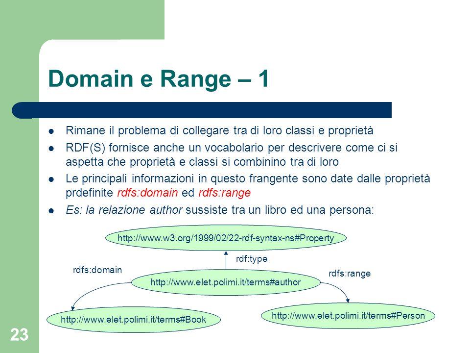 23 Domain e Range – 1 Rimane il problema di collegare tra di loro classi e proprietà RDF(S) fornisce anche un vocabolario per descrivere come ci si as