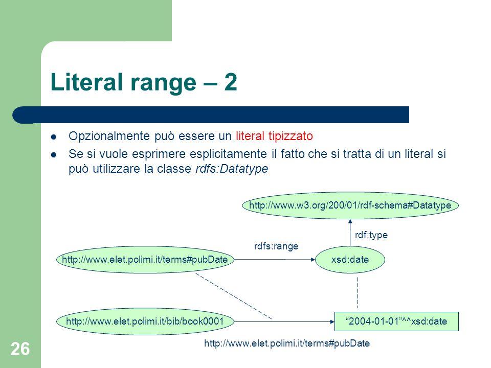 26 Literal range – 2 Opzionalmente può essere un literal tipizzato Se si vuole esprimere esplicitamente il fatto che si tratta di un literal si può ut