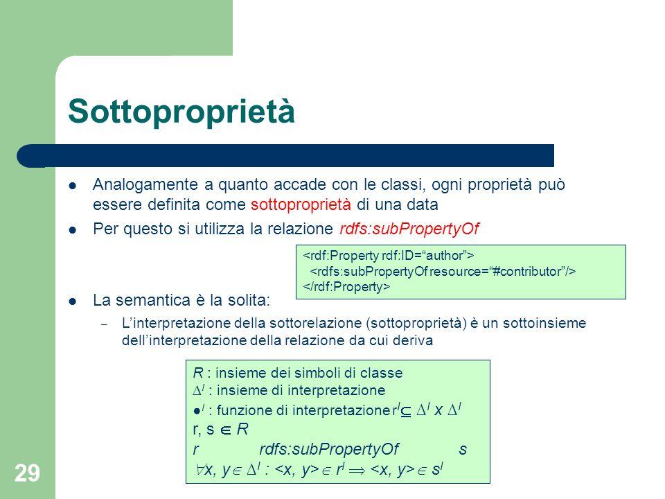29 Sottoproprietà Analogamente a quanto accade con le classi, ogni proprietà può essere definita come sottoproprietà di una data Per questo si utilizz