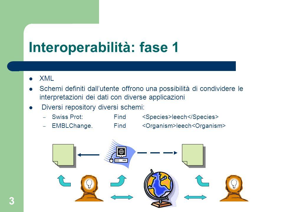3 Interoperabilità: fase 1 XML Schemi definiti dallutente offrono una possibilità di condividere le interpretazioni dei dati con diverse applicazioni