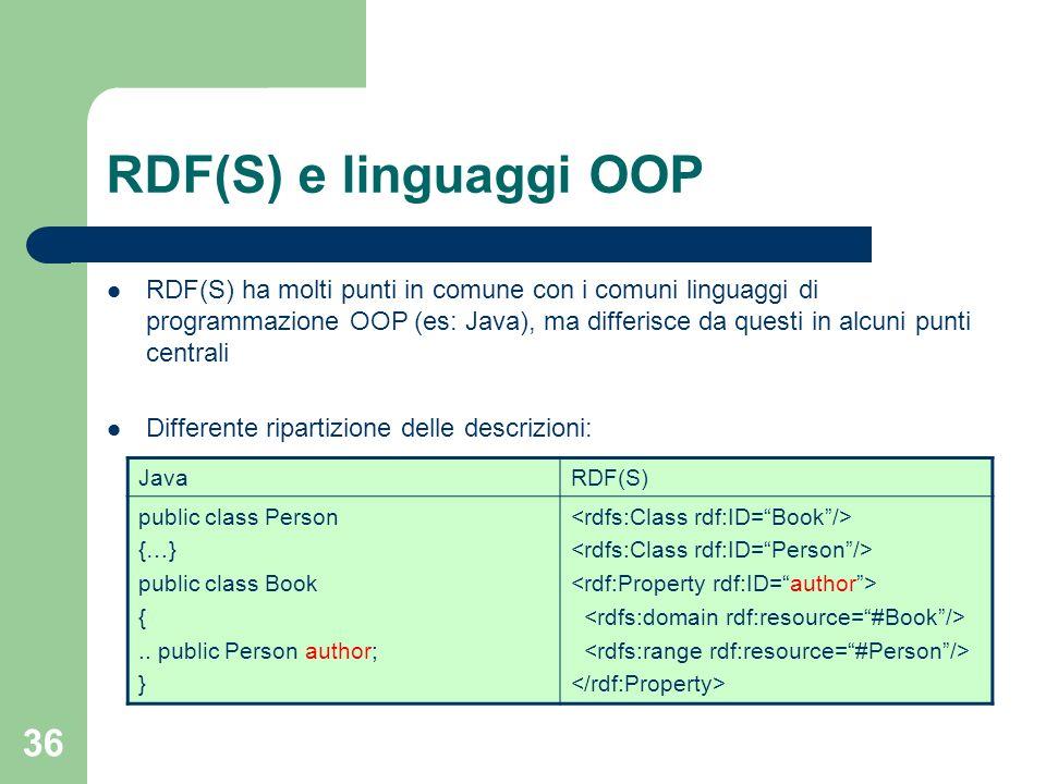 36 RDF(S) e linguaggi OOP RDF(S) ha molti punti in comune con i comuni linguaggi di programmazione OOP (es: Java), ma differisce da questi in alcuni p