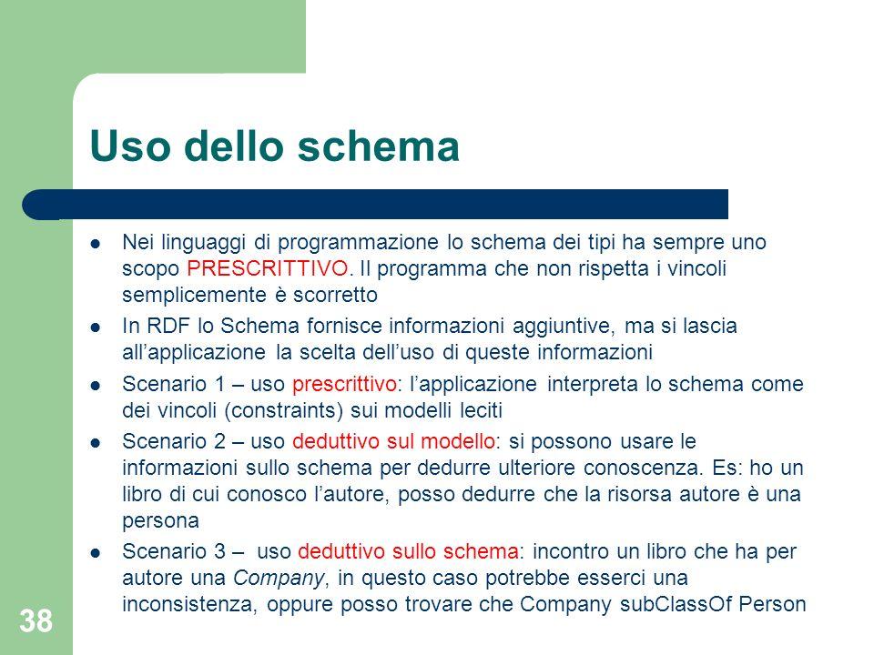 38 Uso dello schema Nei linguaggi di programmazione lo schema dei tipi ha sempre uno scopo PRESCRITTIVO. Il programma che non rispetta i vincoli sempl
