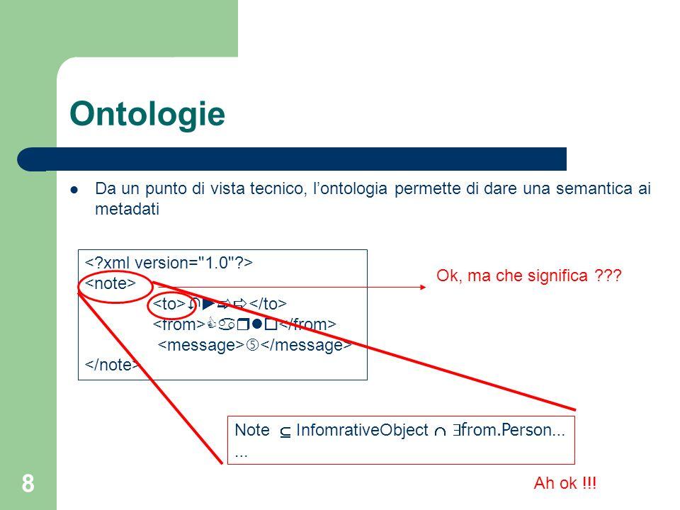 8 Ontologie Da un punto di vista tecnico, lontologia permette di dare una semantica ai metadati Ok, ma che significa ??? Note InfomrativeObject from.P