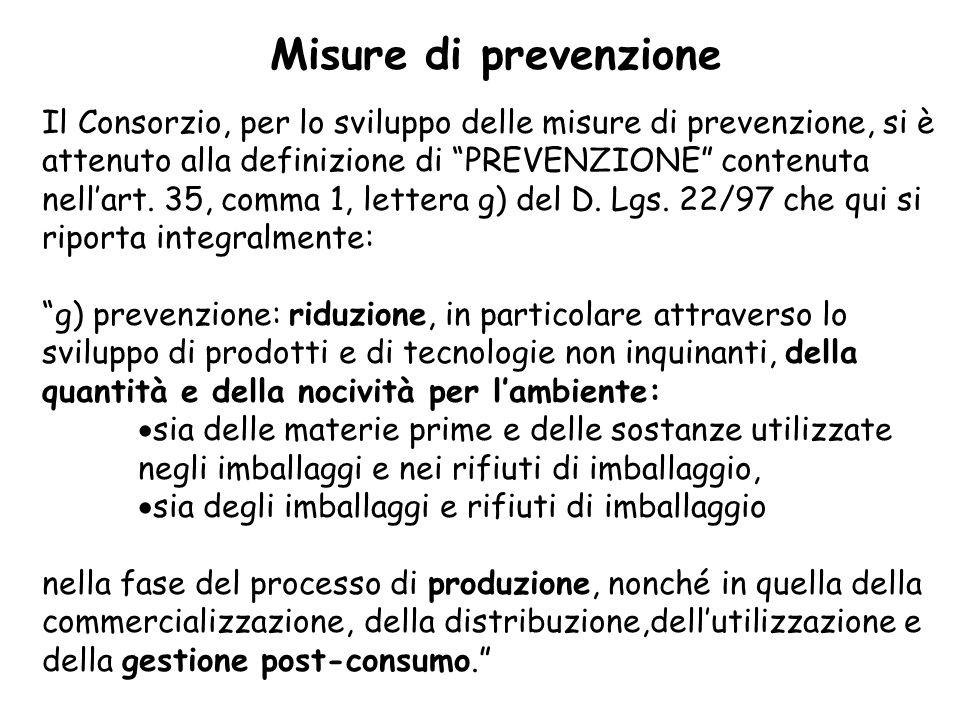 Misure di prevenzione Il Consorzio, per lo sviluppo delle misure di prevenzione, si è attenuto alla definizione di PREVENZIONE contenuta nellart.