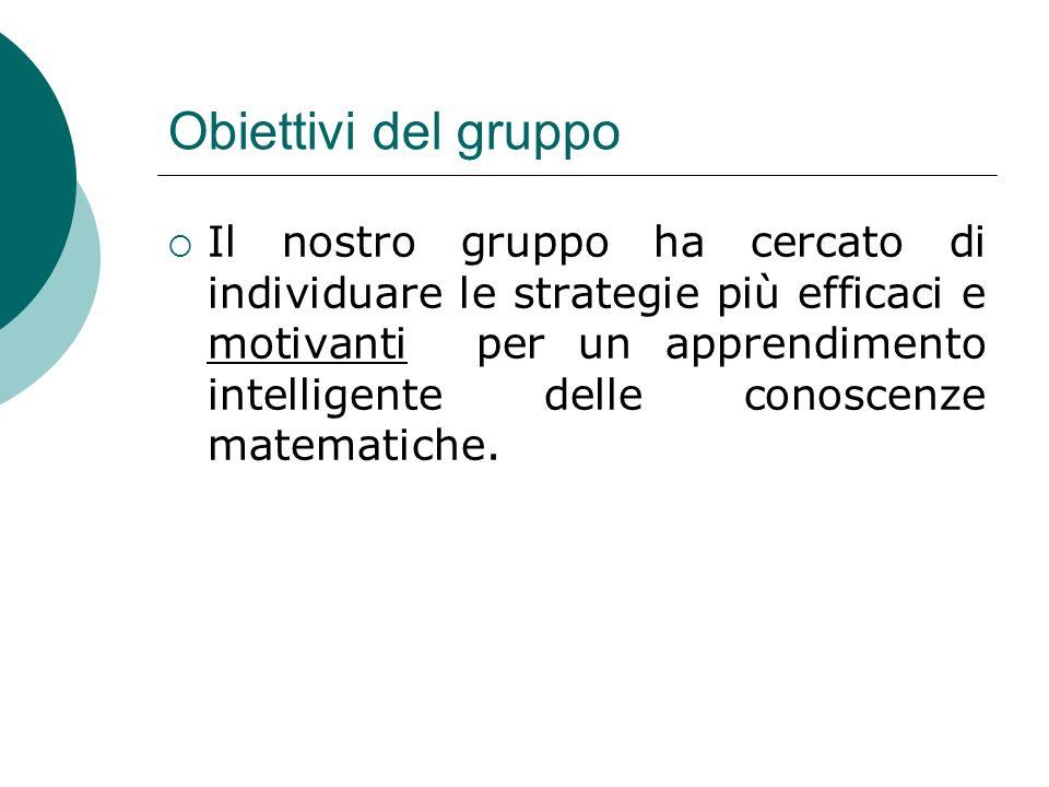 Obiettivi del gruppo Il nostro gruppo ha cercato di individuare le strategie più efficaci e motivanti per un apprendimento intelligente delle conoscen