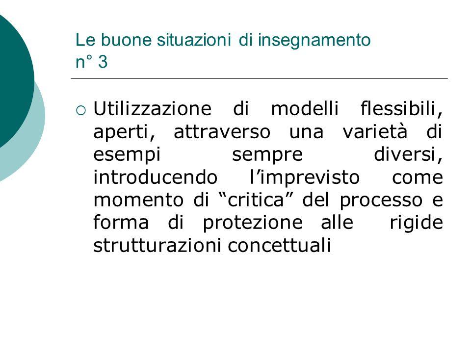 Le buone situazioni di insegnamento n° 3 Utilizzazione di modelli flessibili, aperti, attraverso una varietà di esempi sempre diversi, introducendo li