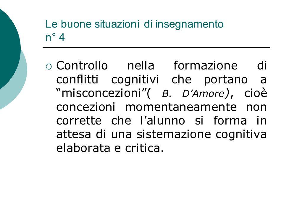 Le buone situazioni di insegnamento n° 4 Controllo nella formazione di conflitti cognitivi che portano a misconcezioni( B. DAmore ), cioè concezioni m