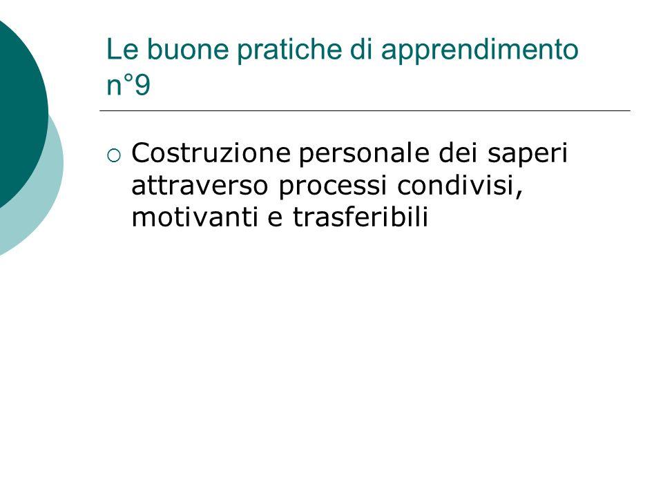 Le buone pratiche di apprendimento n°9 Costruzione personale dei saperi attraverso processi condivisi, motivanti e trasferibili