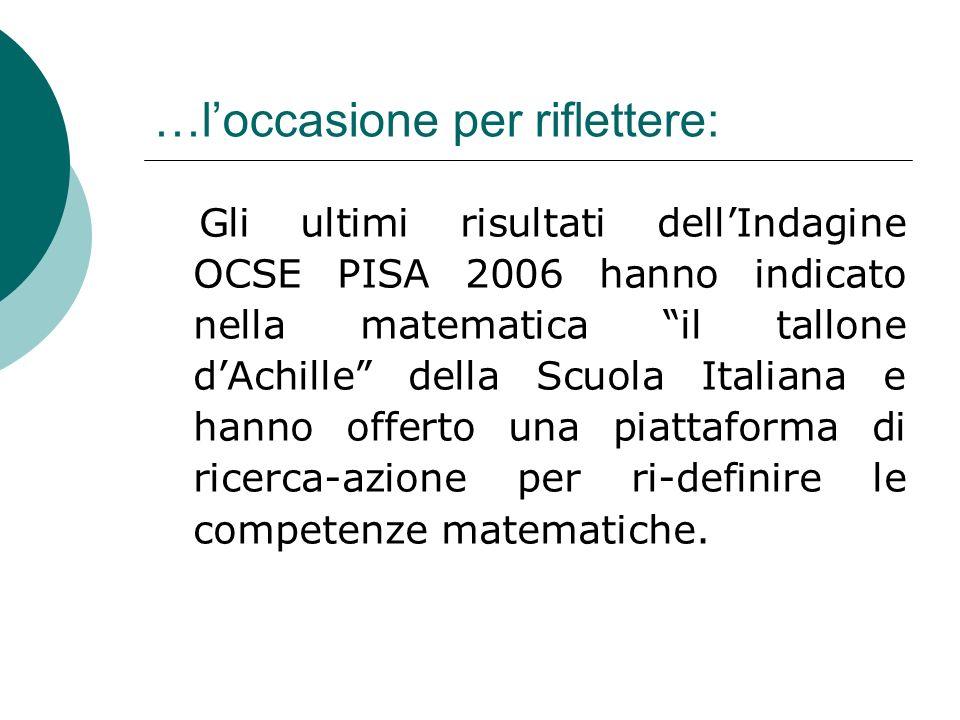 …loccasione per riflettere: Gli ultimi risultati dellIndagine OCSE PISA 2006 hanno indicato nella matematica il tallone dAchille della Scuola Italiana
