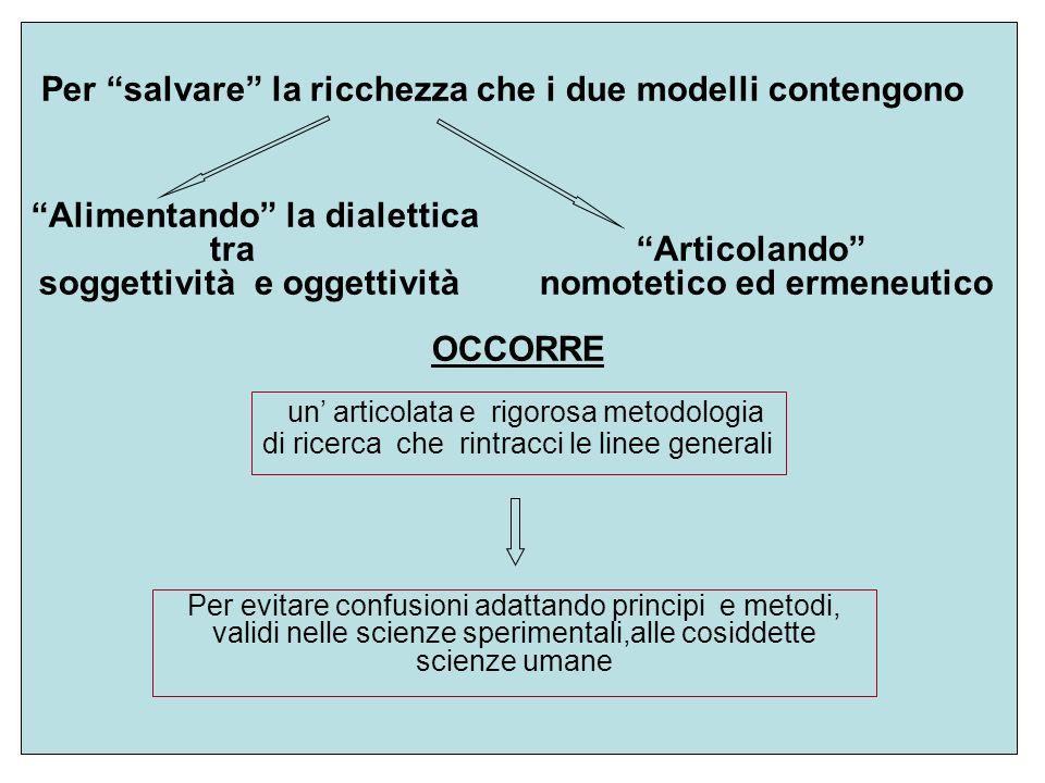 Per salvare la ricchezza che i due modelli contengono Alimentando la dialettica tra Articolando soggettività e oggettività nomotetico ed ermeneutico O