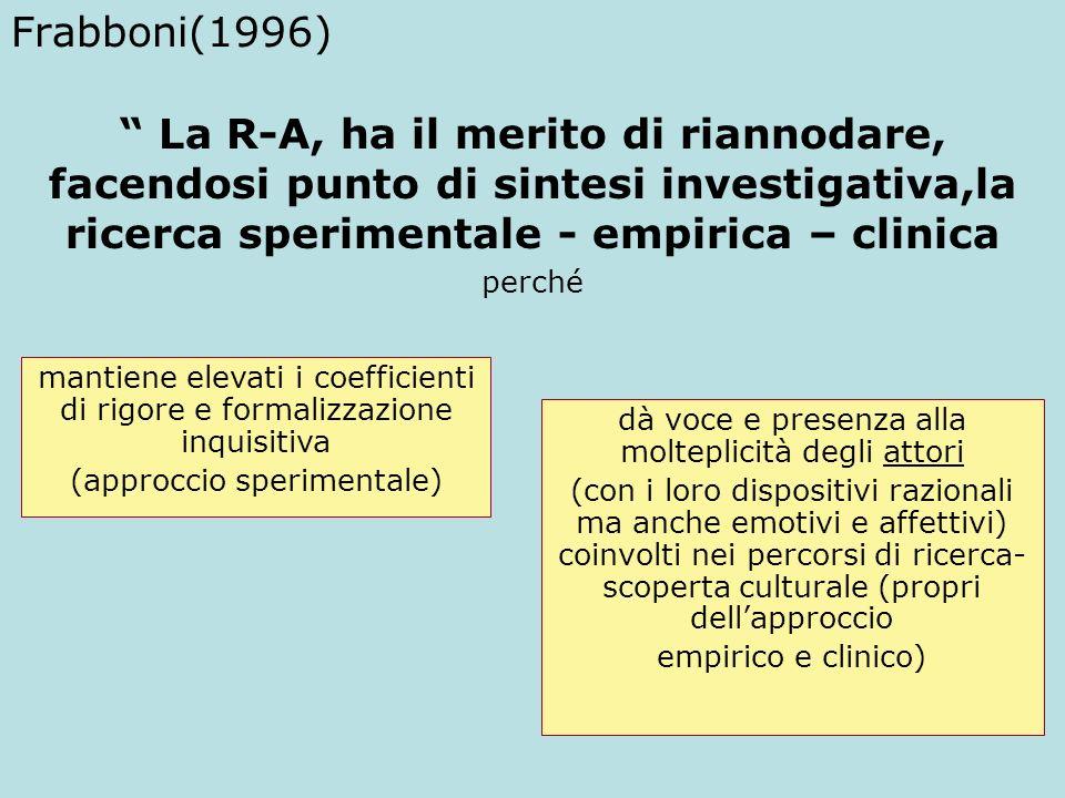 Frabboni(1996) La R-A, ha il merito di riannodare, facendosi punto di sintesi investigativa,la ricerca sperimentale - empirica – clinica perché mantie