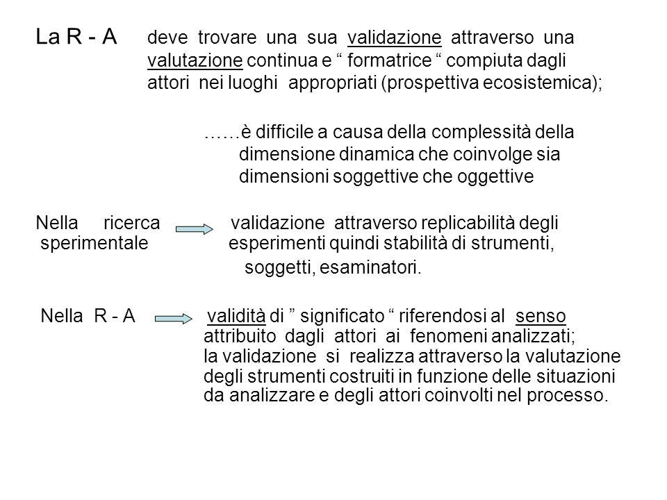 La R - A deve trovare una sua validazione attraverso una valutazione continua e formatrice compiuta dagli attori nei luoghi appropriati (prospettiva e