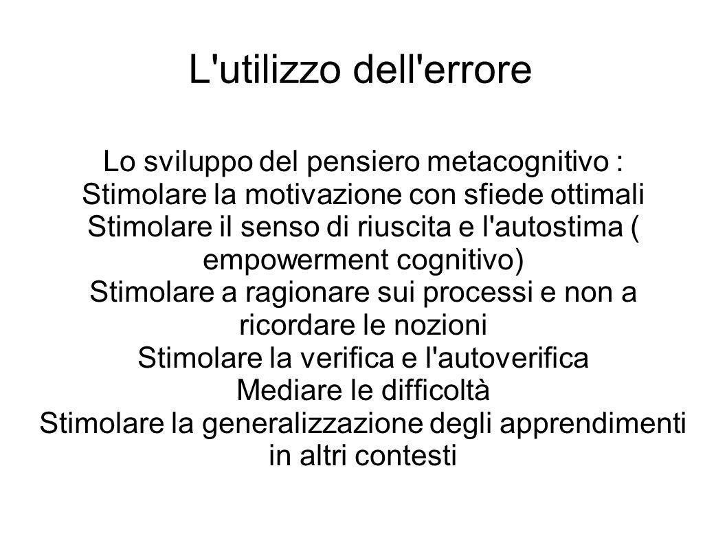 L'utilizzo dell'errore Lo sviluppo del pensiero metacognitivo : Stimolare la motivazione con sfiede ottimali Stimolare il senso di riuscita e l'autost