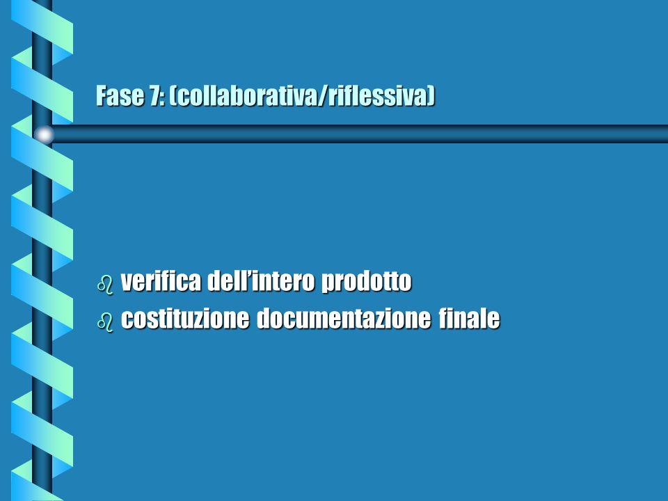 Fase 7: (collaborativa/riflessiva) b verifica dellintero prodotto b costituzione documentazione finale