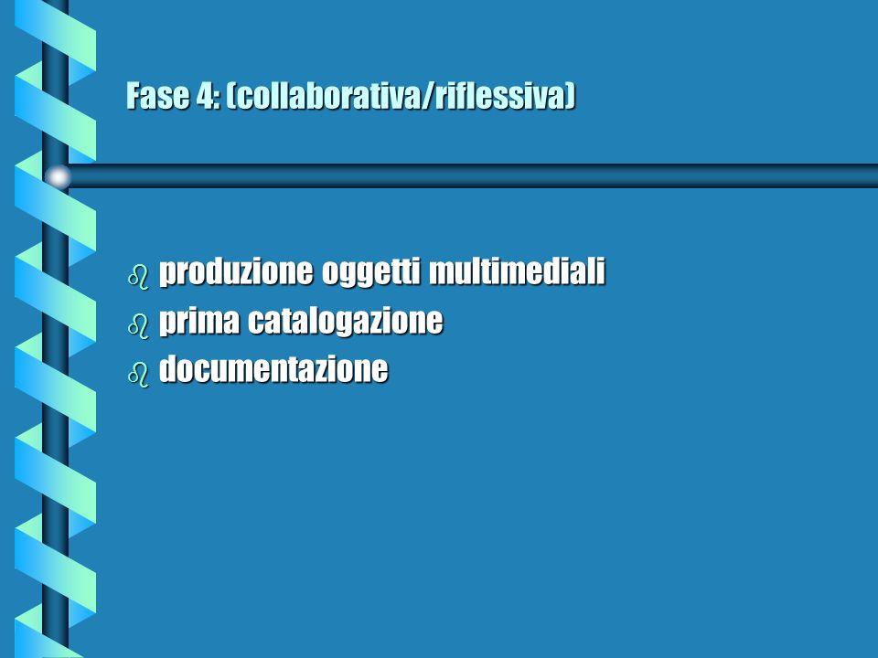 Fase 5: (collaborativa/riflessiva) b catalogo di tutti gli oggetti in un db b selezione del materiale b prima fase di verifica (test) b documentazione oggetti