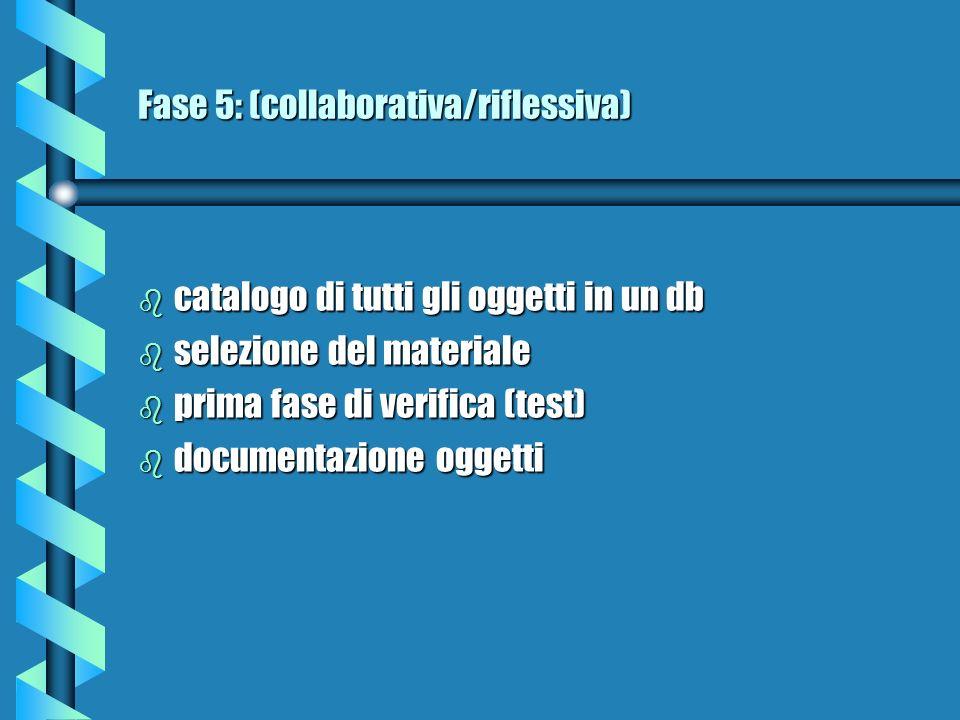 Fase 6: (collaborativa/riflessiva) implementazione mediante un software per Internet (realizzazione)