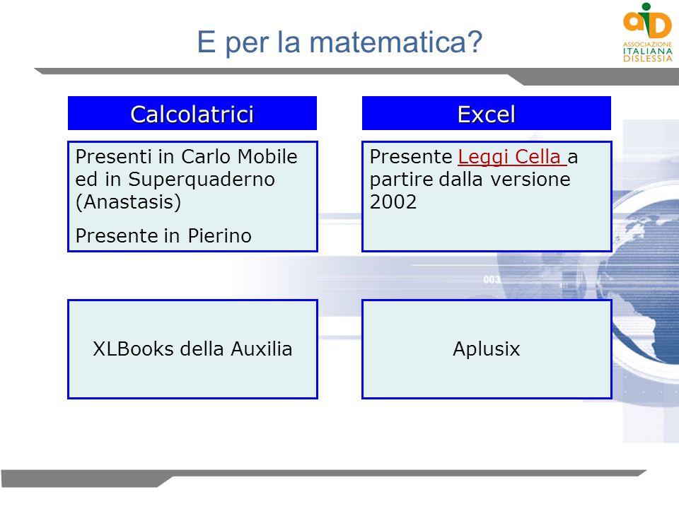 E per la matematica? Calcolatrici Presenti in Carlo Mobile ed in Superquaderno (Anastasis) Presente in Pierino Excel Presente Leggi Cella a partire da