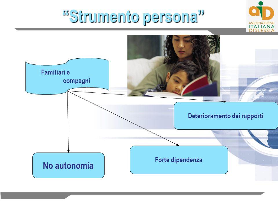Strumento persona Familiari e compagni Deterioramento dei rapporti Forte dipendenza No autonomia