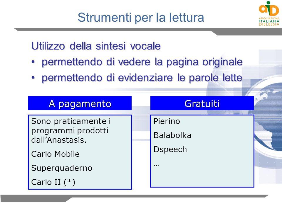 Strumenti per la lettura Utilizzo della sintesi vocale permettendo di vedere la pagina originalepermettendo di vedere la pagina originale permettendo