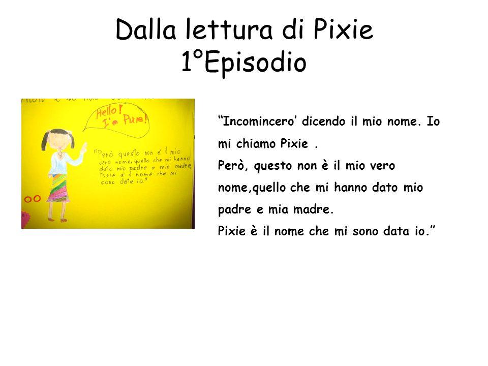 Dalla lettura di Pixie 1°Episodio Incomincero dicendo il mio nome. Io mi chiamo Pixie. Però, questo non è il mio vero nome,quello che mi hanno dato mi