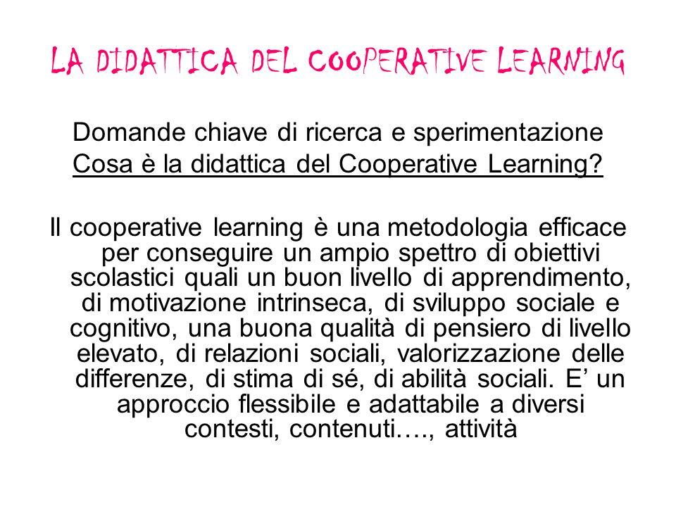 LA DIDATTICA DEL COOPERATIVE LEARNING Domande chiave di ricerca e sperimentazione Cosa è la didattica del Cooperative Learning? Il cooperative learnin