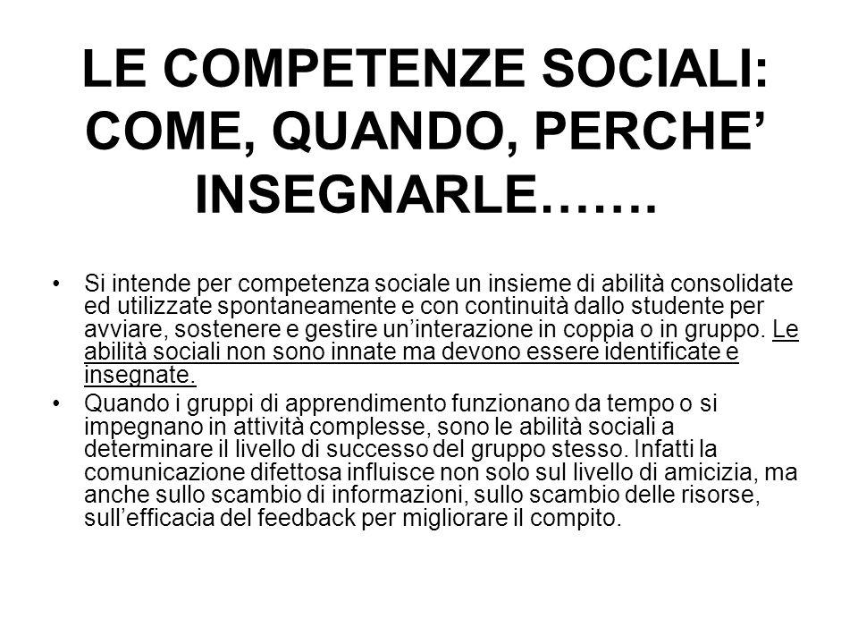 LE COMPETENZE SOCIALI: COME, QUANDO, PERCHE INSEGNARLE……. Si intende per competenza sociale un insieme di abilità consolidate ed utilizzate spontaneam
