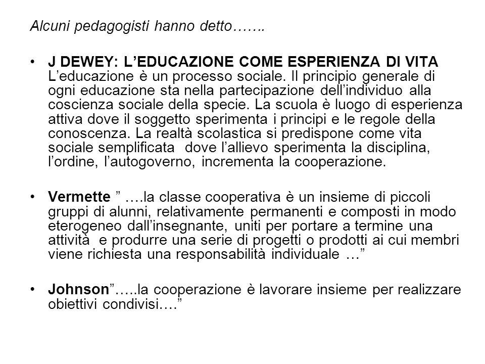 Alcuni pedagogisti hanno detto……. J DEWEY: LEDUCAZIONE COME ESPERIENZA DI VITA Leducazione è un processo sociale. Il principio generale di ogni educaz