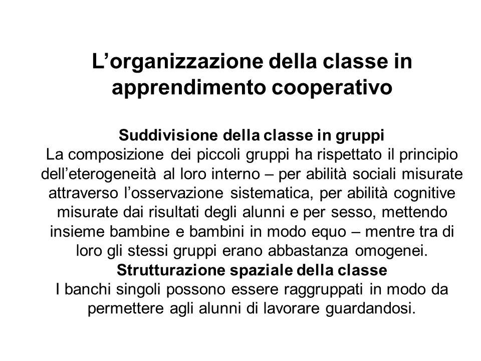 Lorganizzazione della classe in apprendimento cooperativo Suddivisione della classe in gruppi La composizione dei piccoli gruppi ha rispettato il prin