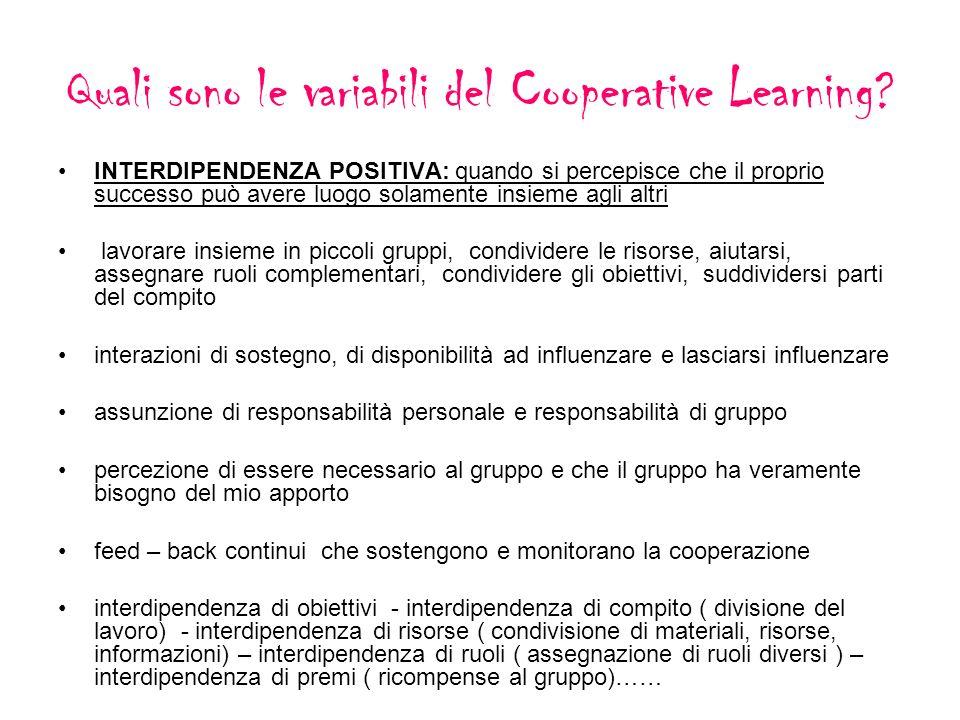 Quali sono le variabili del Cooperative Learning? INTERDIPENDENZA POSITIVA: quando si percepisce che il proprio successo può avere luogo solamente ins
